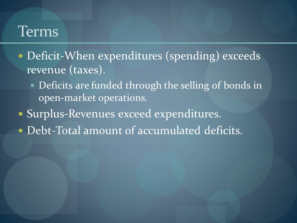 Terms Deficit-When expenditures (spending) exceeds revenue (taxes).