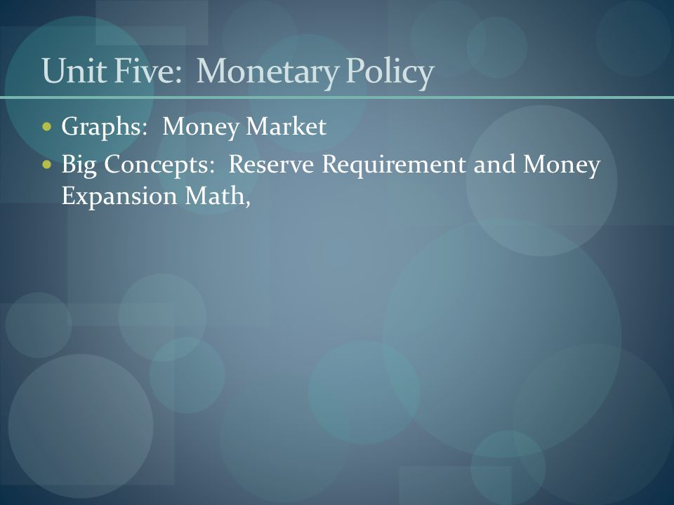 Unit Five: Monetary Policy