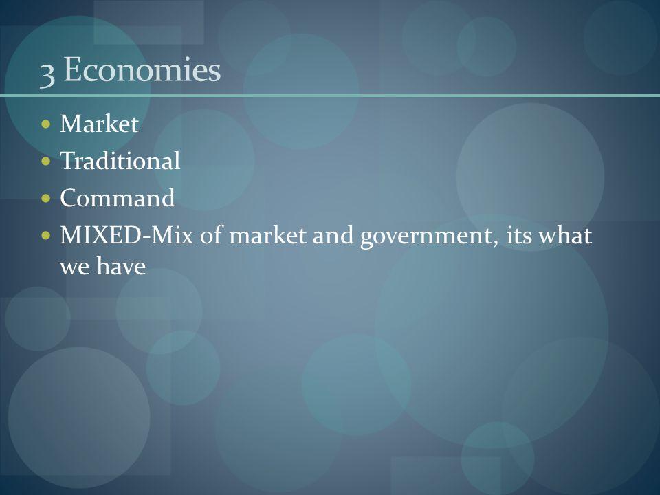 3 Economies Market Traditional Command