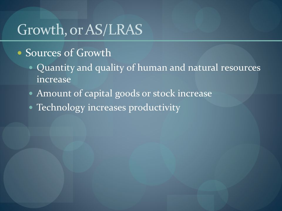 Growth, or AS/LRAS Sources of Growth