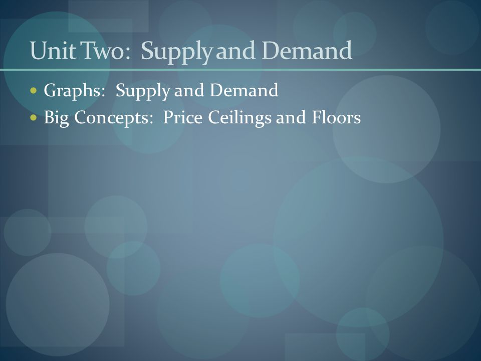 Unit Two: Supply and Demand