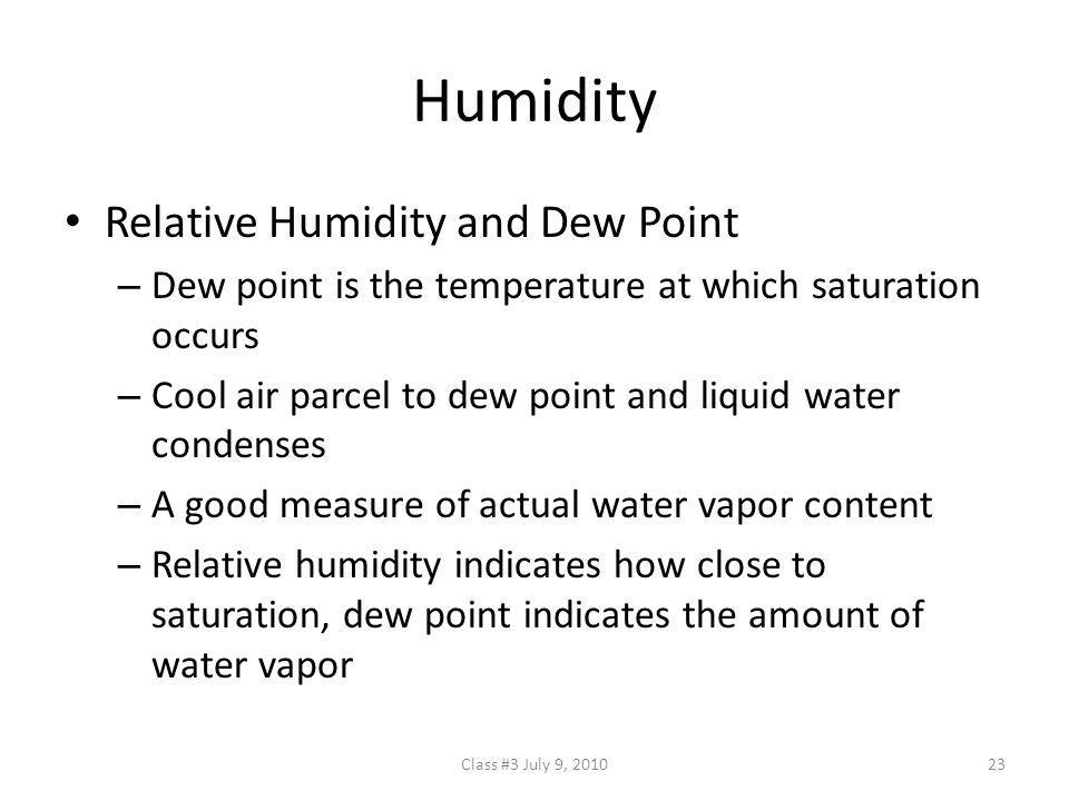 Humidity Relative Humidity and Dew Point