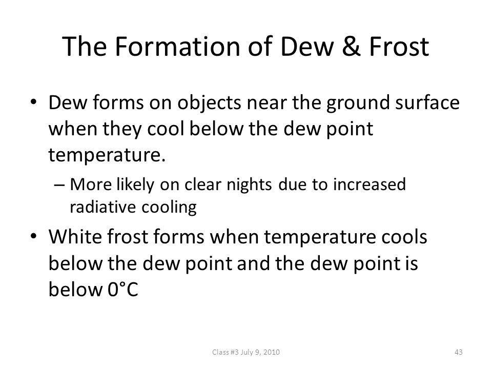 The Formation of Dew & Frost