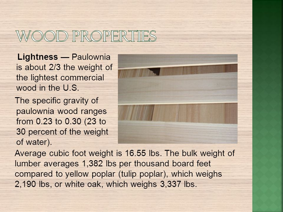 Wood properties