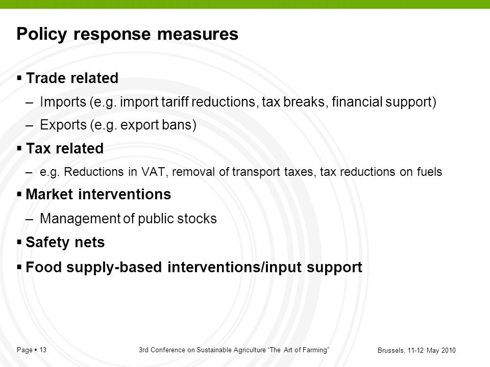 Policy response measures