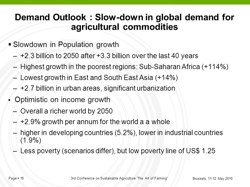 Demand Outlook : Slow-down in global demand for agricultural commodities
