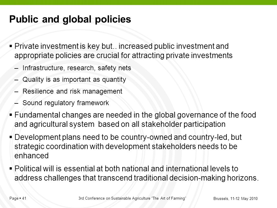 Public and global policies
