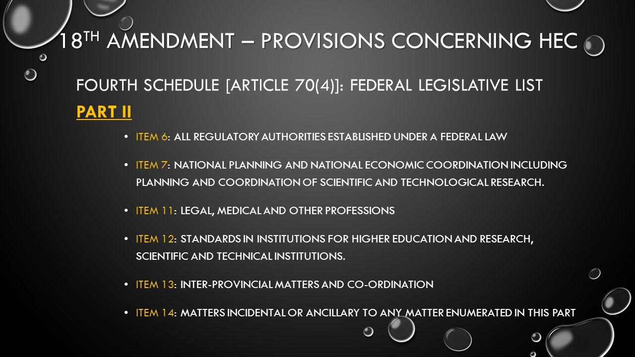 18th Amendment – provisions concerning hec