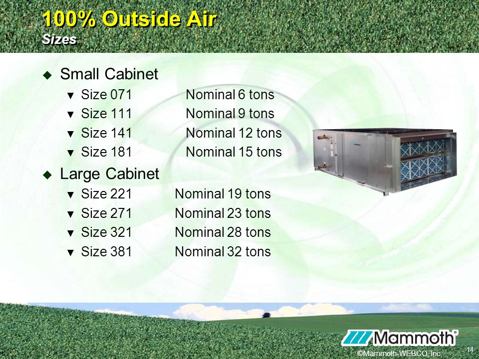 100% Outside Air Sizes Small Cabinet Large Cabinet