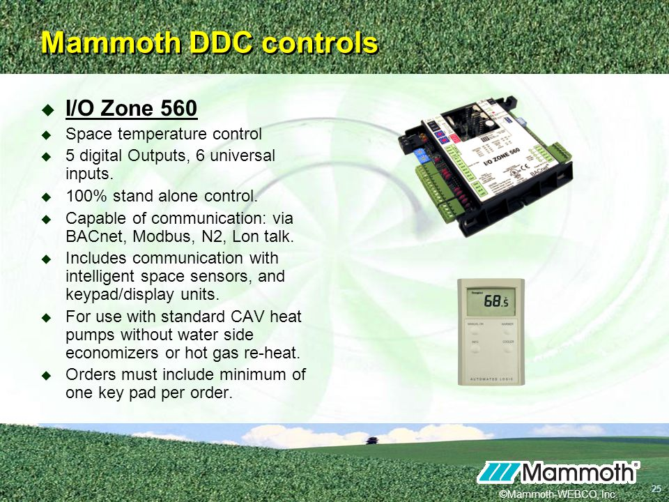 Mammoth DDC controls I/O Zone 560 Space temperature control