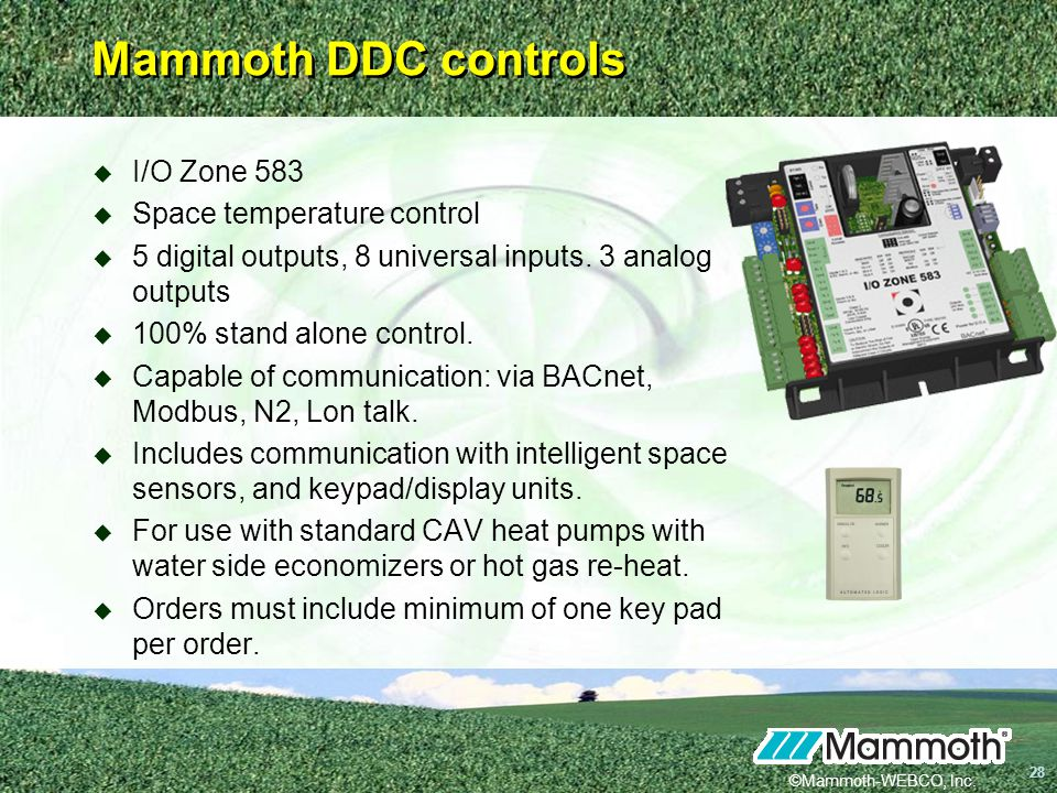 Mammoth DDC controls I/O Zone 583 Space temperature control