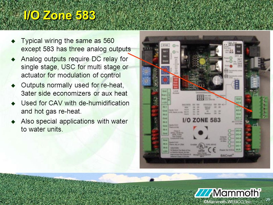 I/O Zone 583 Typical wiring the same as 560 except 583 has three analog outputs.