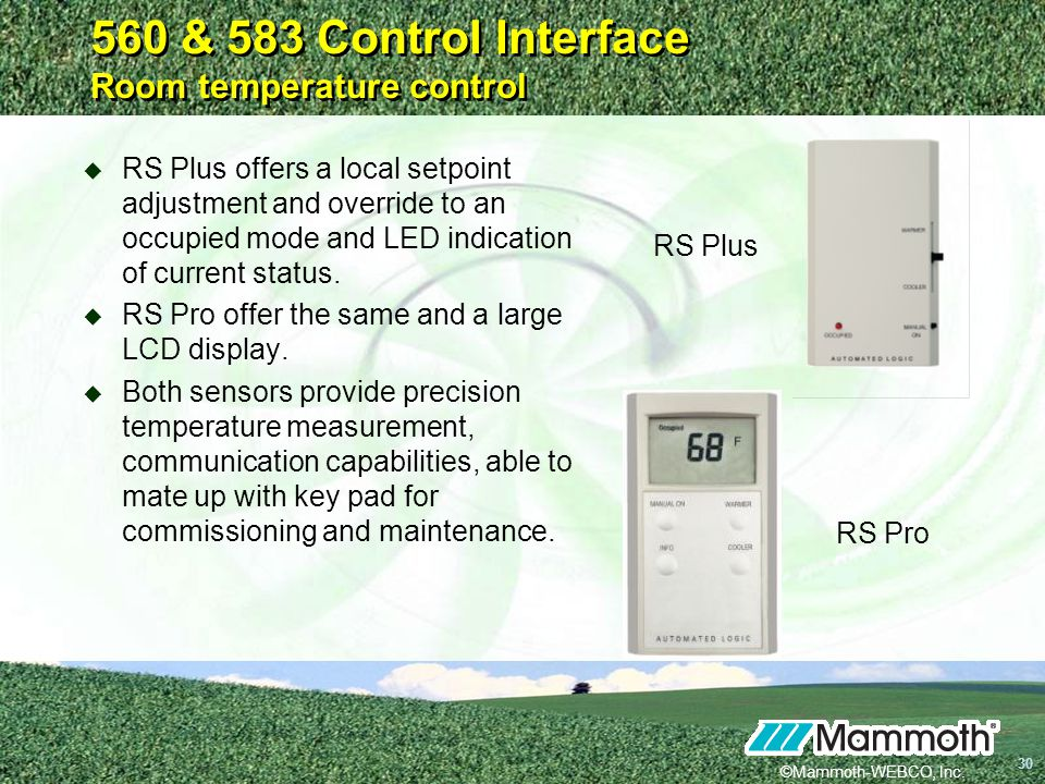 560 & 583 Control Interface Room temperature control