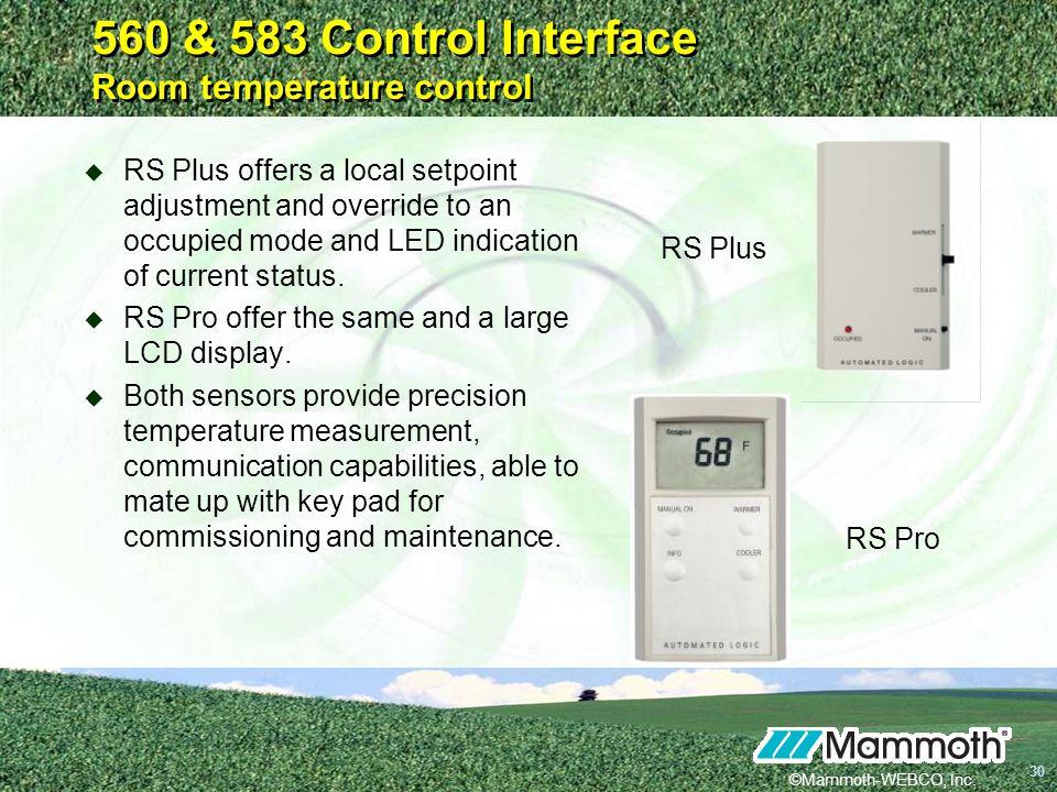 560 & 583 Control Interface Room temperature control