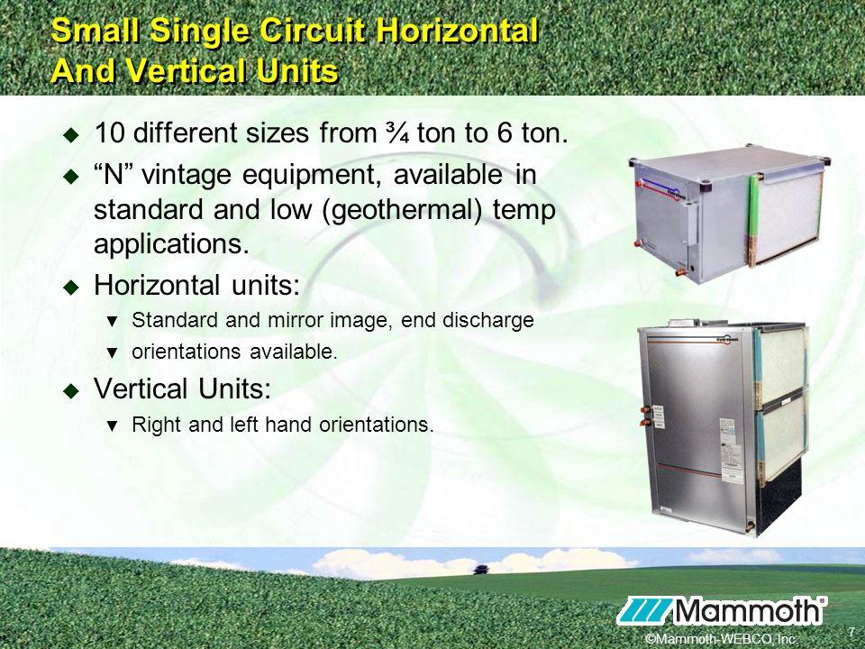 Small Single Circuit Horizontal And Vertical Units