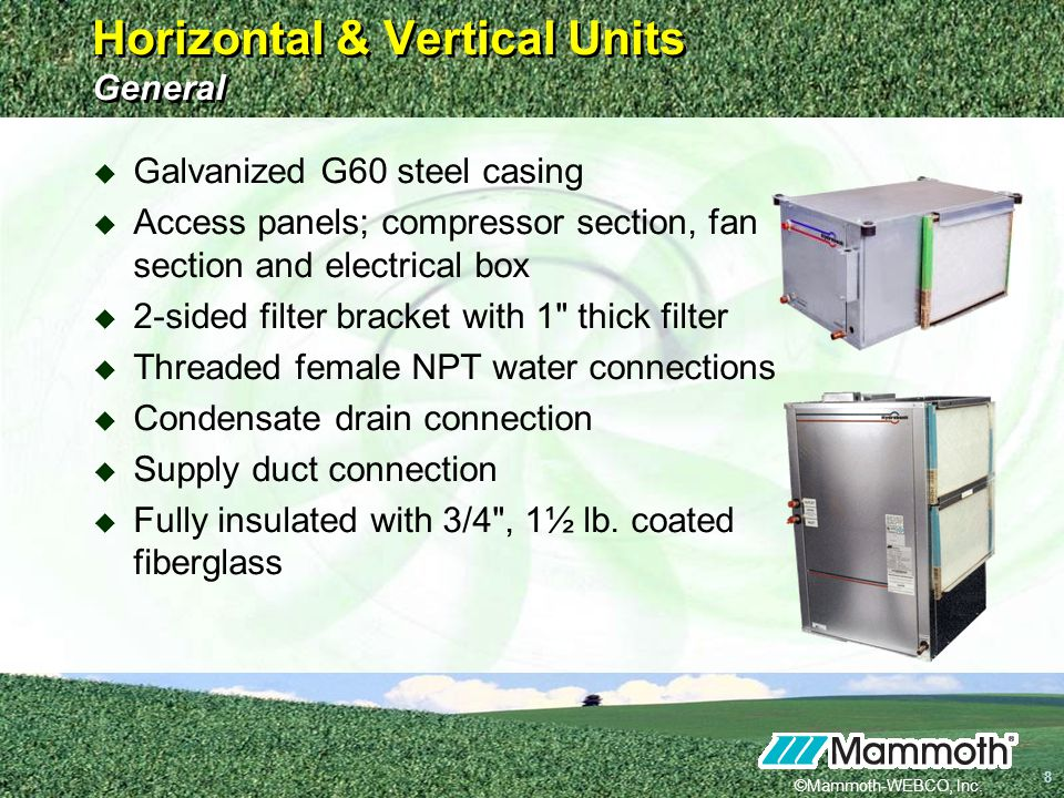 Horizontal & Vertical Units General