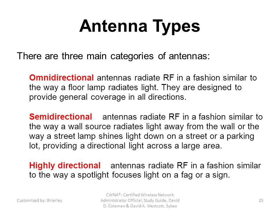 Antenna Types There are three main categories of antennas: