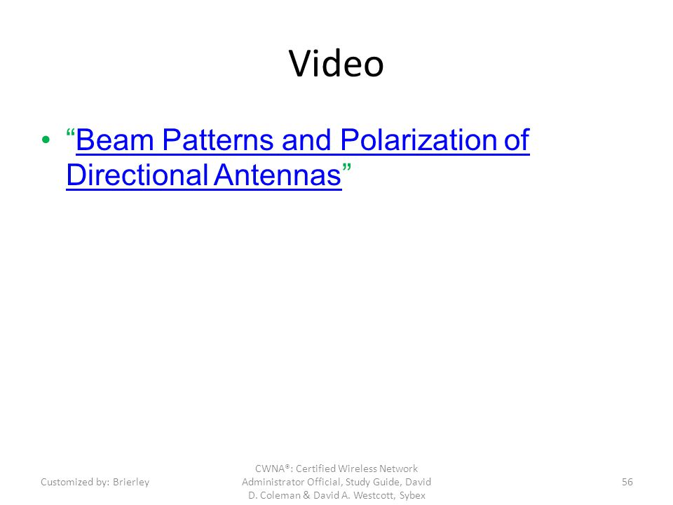 Video Beam Patterns and Polarization of Directional Antennas