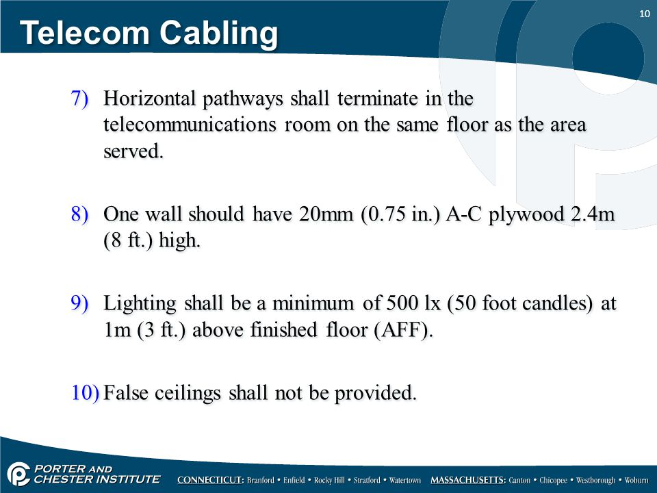 Telecom Cabling Horizontal pathways shall terminate in the telecommunications room on the same floor as the area served.