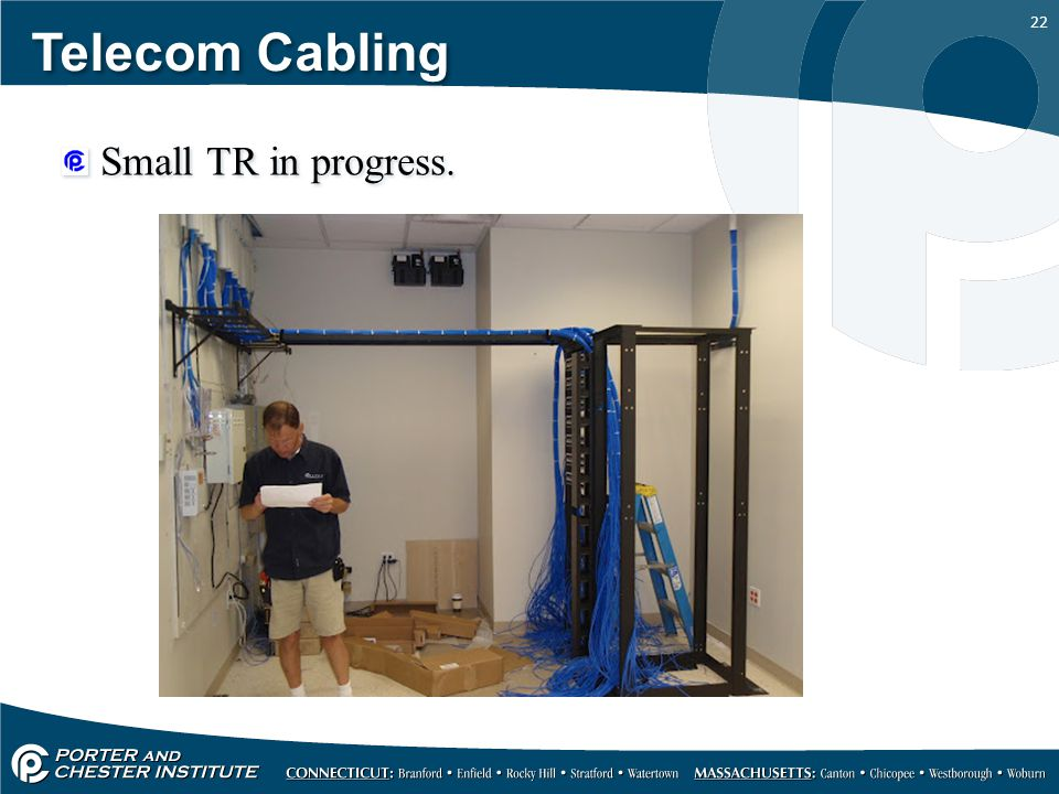 Telecom Cabling Small TR in progress.