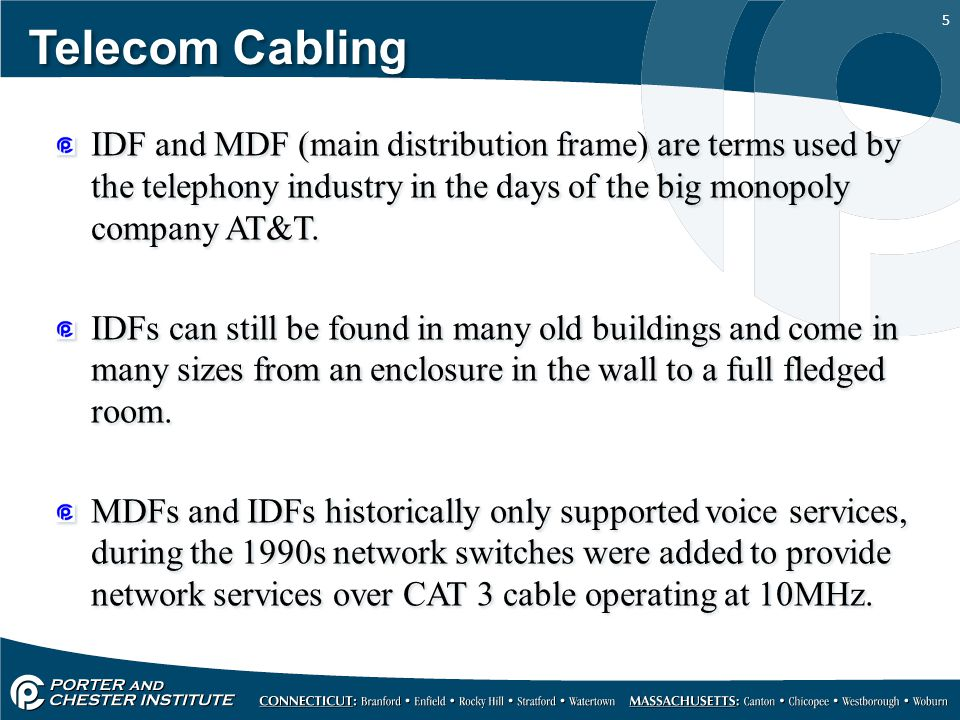 Telecom Cabling IDF and MDF (main distribution frame) are terms used by the telephony industry in the days of the big monopoly company AT&T.