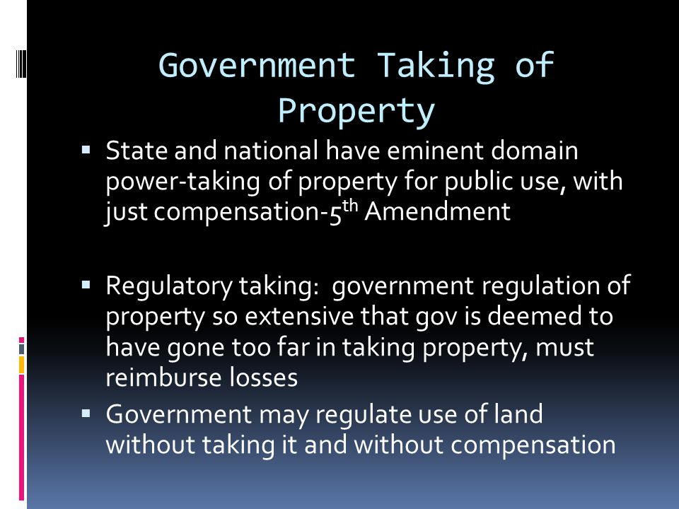 Government Taking of Property