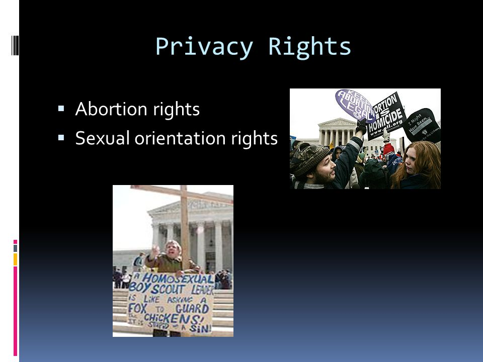 Privacy Rights Abortion rights Sexual orientation rights
