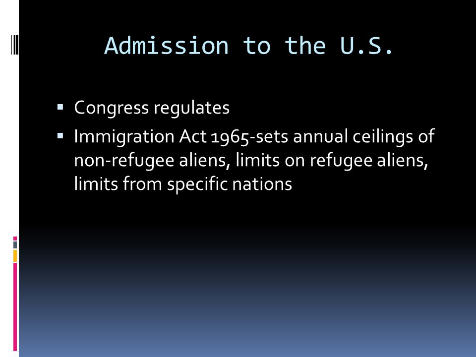Admission to the U.S. Congress regulates