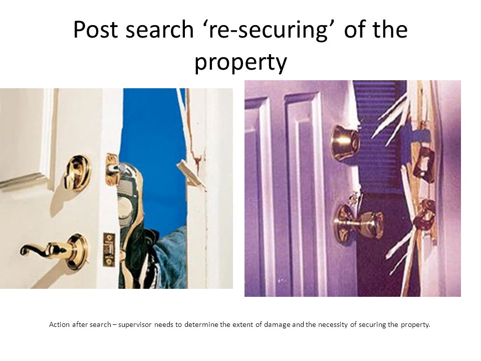 Post search 're-securing' of the property