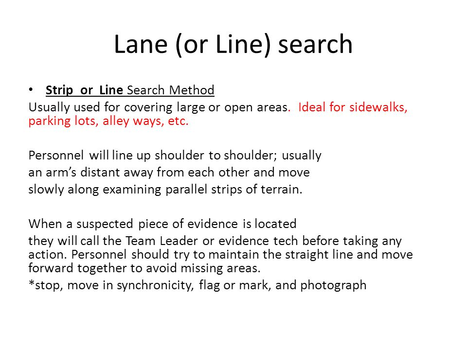 Lane (or Line) search Strip or Line Search Method