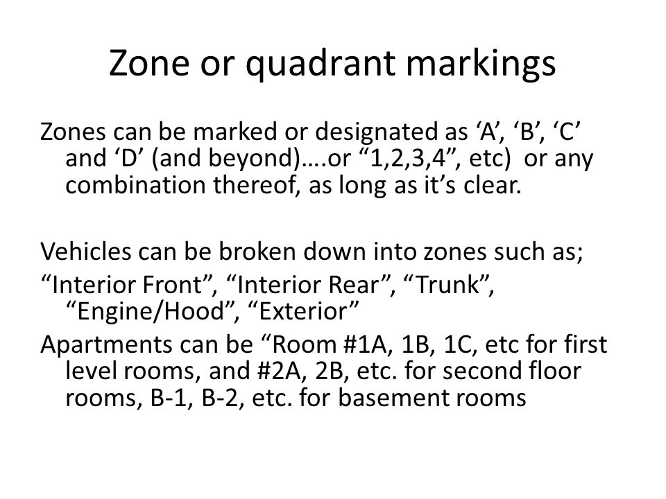Zone or quadrant markings