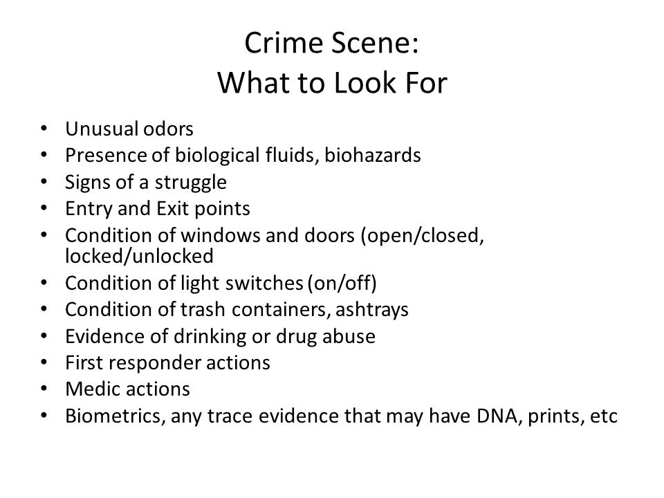 Crime Scene: What to Look For