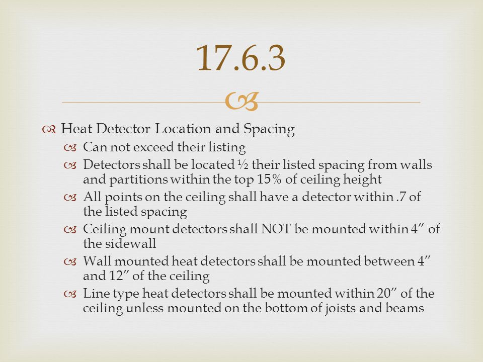 17.6.3 Heat Detector Location and Spacing Can not exceed their listing