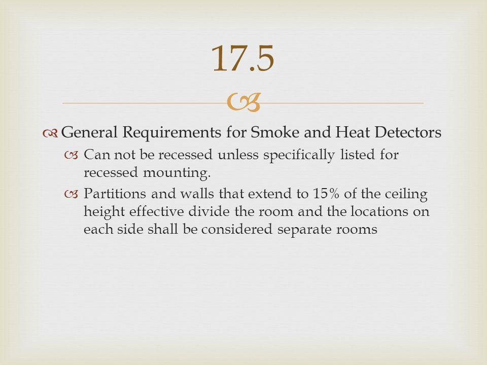 17.5 General Requirements for Smoke and Heat Detectors