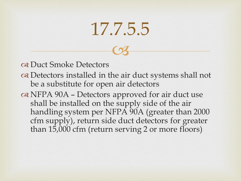 17.7.5.5 Duct Smoke Detectors. Detectors installed in the air duct systems shall not be a substitute for open air detectors.