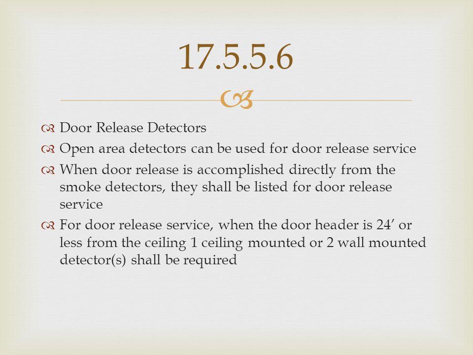 17.5.5.6 Door Release Detectors