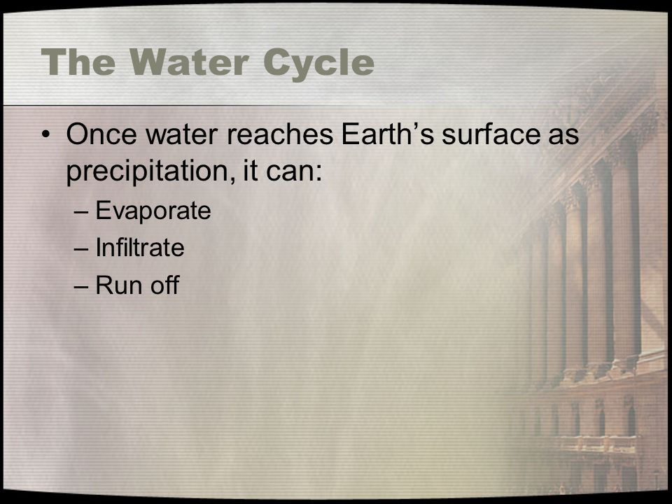 The Water Cycle Once water reaches Earth's surface as precipitation, it can: Evaporate. Infiltrate.