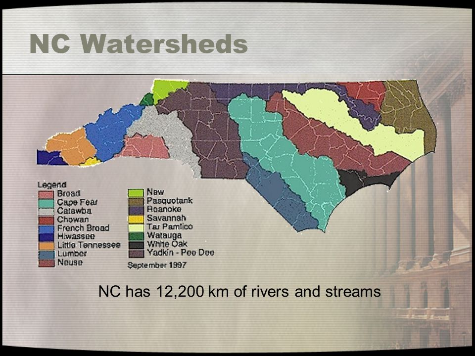 NC Watersheds NC has 12,200 km of rivers and streams