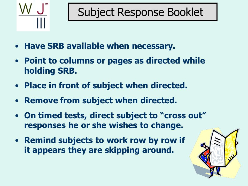 Subject Response Booklet