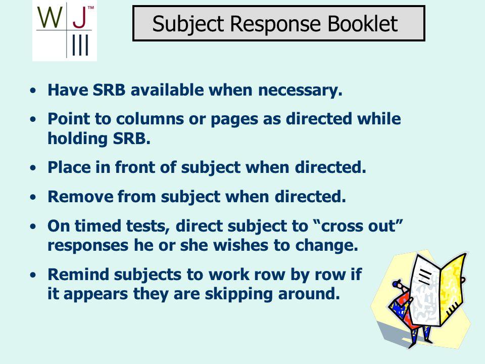 Subject Response Booklet