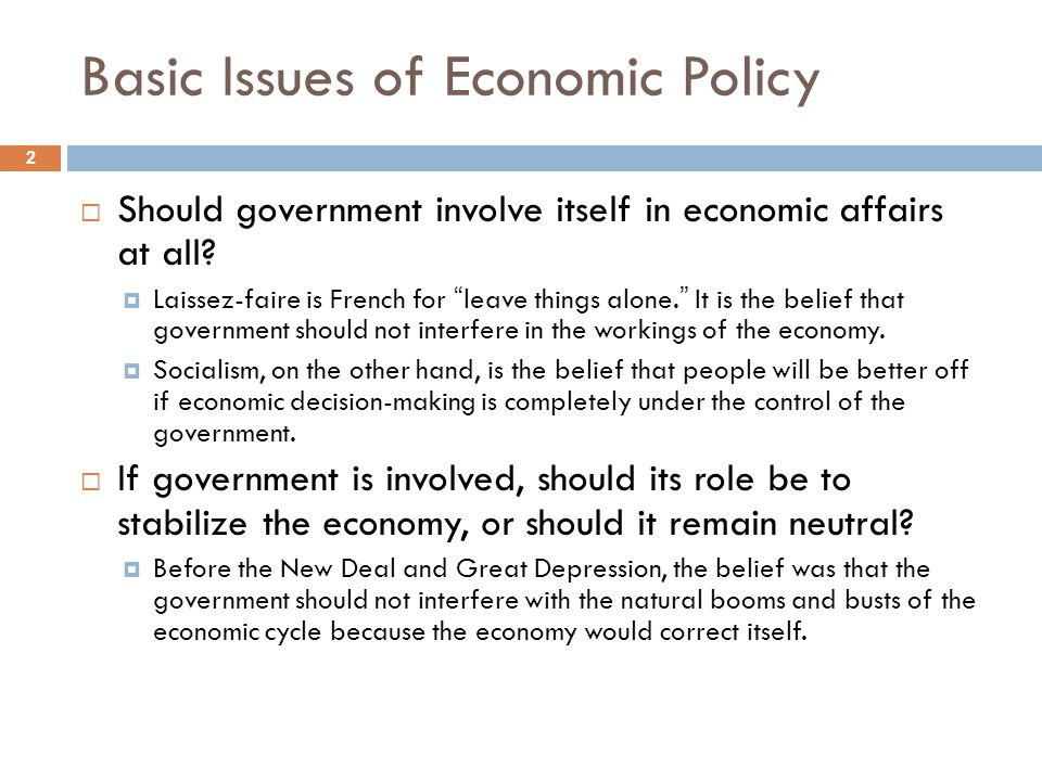Basic Issues of Economic Policy