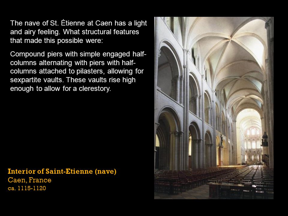 Interior of Saint-Etienne (nave) Caen, France