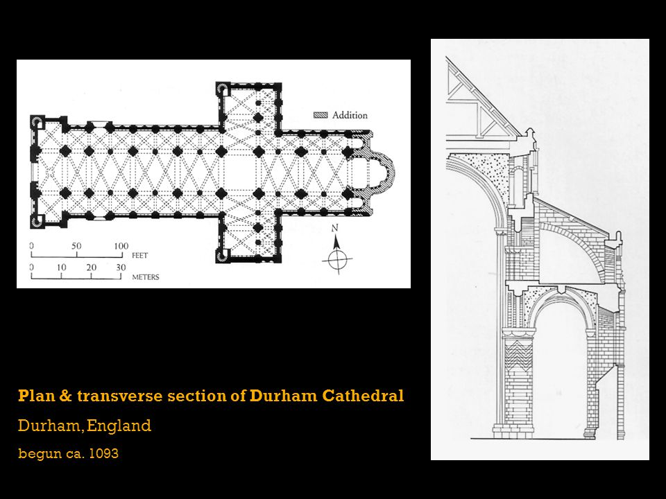 Plan & transverse section of Durham Cathedral Durham, England