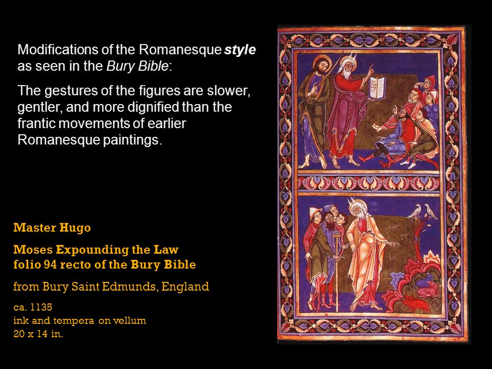 Modifications of the Romanesque style as seen in the Bury Bible: