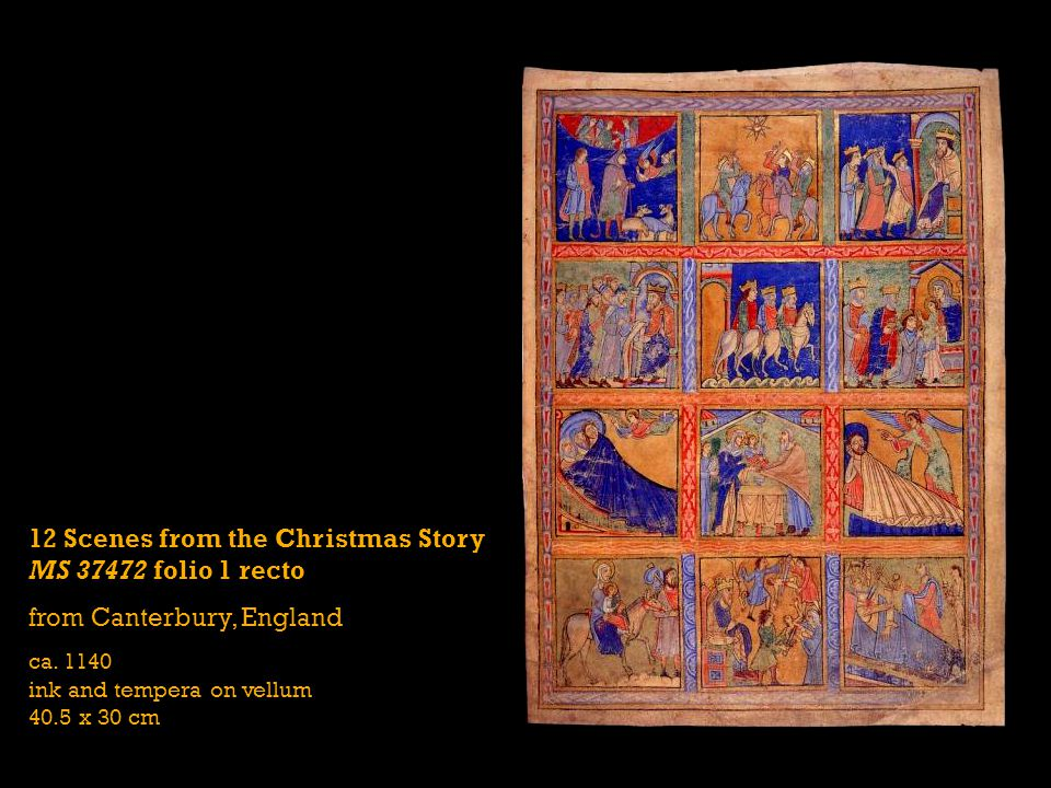 12 Scenes from the Christmas Story MS 37472 folio 1 recto