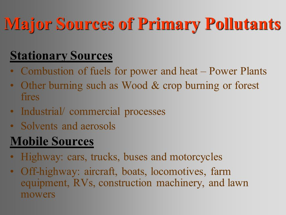 Major Sources of Primary Pollutants