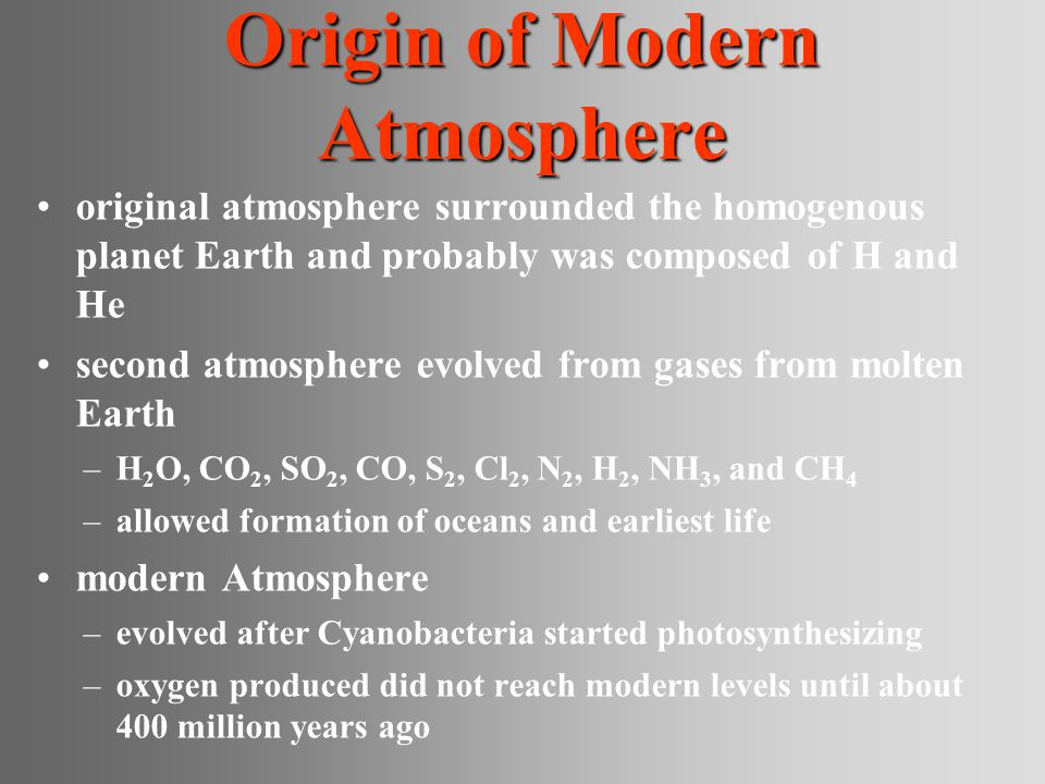 Origin of Modern Atmosphere