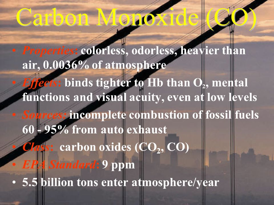 Carbon Monoxide (CO) Properties: colorless, odorless, heavier than air, % of atmosphere.