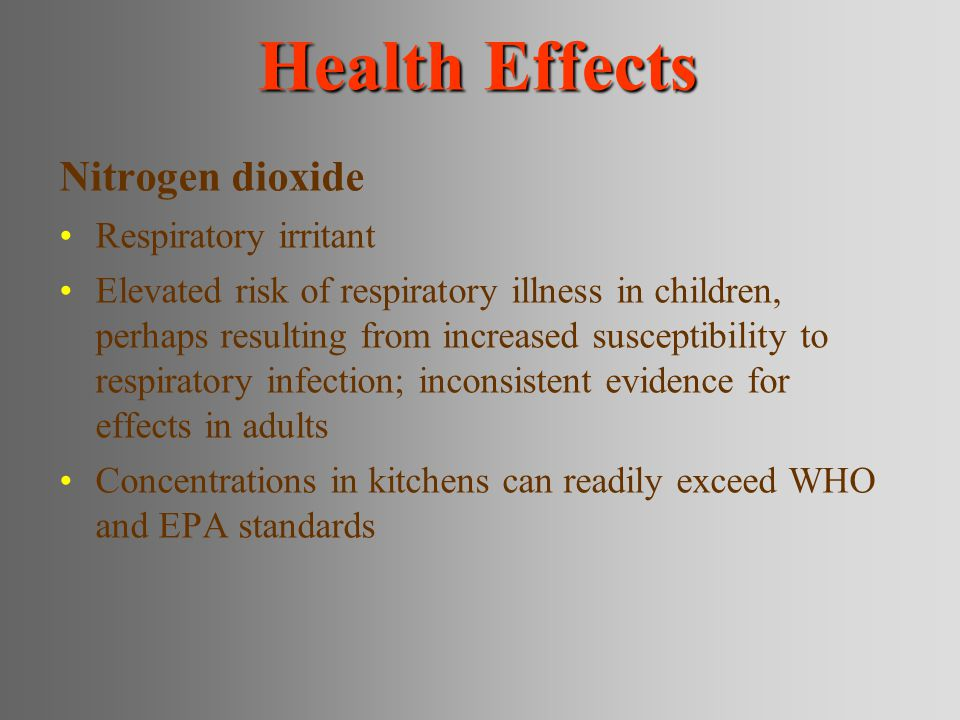 Health Effects Nitrogen dioxide Respiratory irritant
