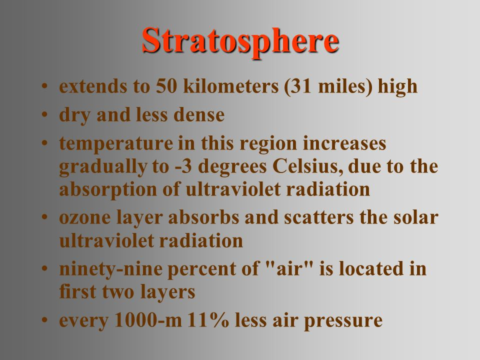 Stratosphere extends to 50 kilometers (31 miles) high